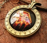 Медальон World of Warcraft  класс шаман Shaman (Металл + стекло)
